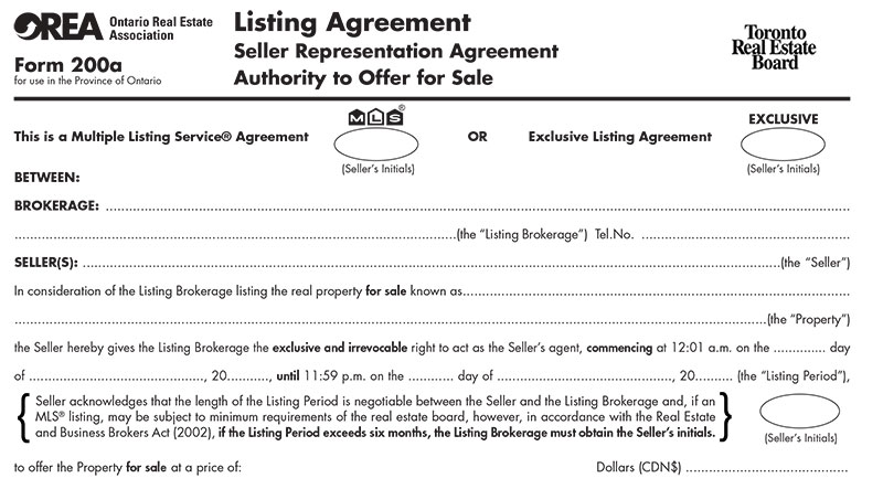 You'll Be Asked To Sign A Listing Agreement